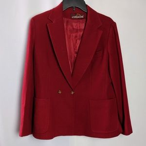 Vintage Red Jordache Wool Blazer Horse Buttons!